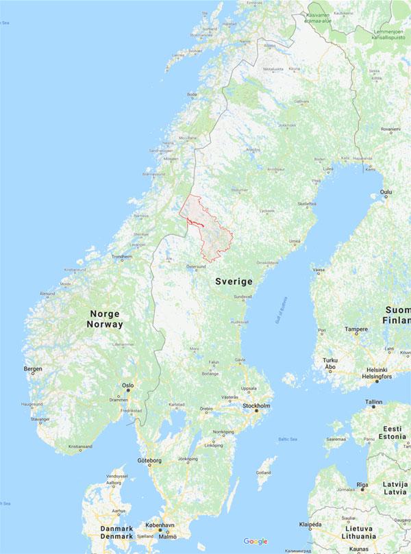 Karta över sverige och Strömsunds kommun